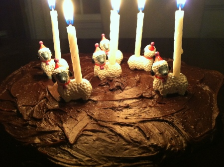 cake with candles lit